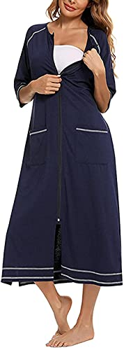 Pijama Zipper Robe 3/4 Manga SofeCoat Soft Zip Up Bata de baño Vestido de embarazo vestido con bolsillos Traje de encaje (Color : Navy Blue, Size : L)