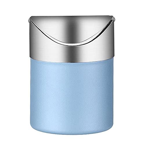 YeenGreen Papelera para Escritorio Pequeña, Mini Basura con Tapa 1.5 L, Cubos de Basura Minis, Papelera Acero Inoxidable Mini para Sala de Estudio Escritorio Oficina Cocina ( 11.5×12×15.8 cm, Azul )