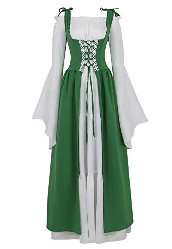 Womens Renaissance Cosplay Costume Medieval Irish Over Dress and Chemise Boho Set Gothic High Waist Gown Dress Green-M