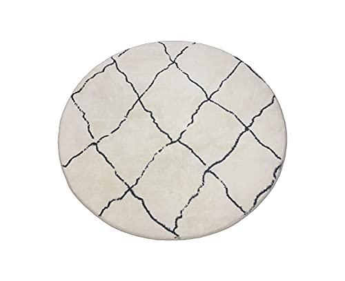 Tapis Rond Moroccan 180cm Blanc Noir