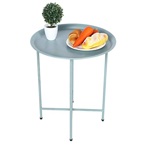 Metalen bijzettafeltje, banktafel kleine ronde bijzettafels, roestwerende en waterdichte snacktafel voor binnen en buiten, salontafel met accent 17.5x20.9inch