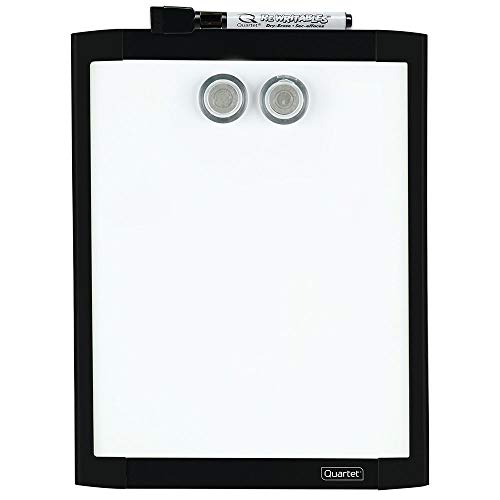Quartet Magnetic Whiteboard, 8-1/2' x 11' White Board for Wall, Dry Erase Board for Kids, Perfect for Home Office & Home School Supplies, 1 Dry Erase Marker, 2 Magnets, Black Frame (MHOW8511-BK)