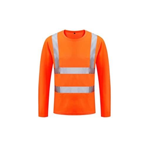ZNZN Traje de Manga Larga Reflectante, de Secado rápido Tela Camiseta de Seguridad Chaleco Reflectante de Alta Visibilidad Ligero y Transpirable Chalecos de Seguridad (Color : Orange)