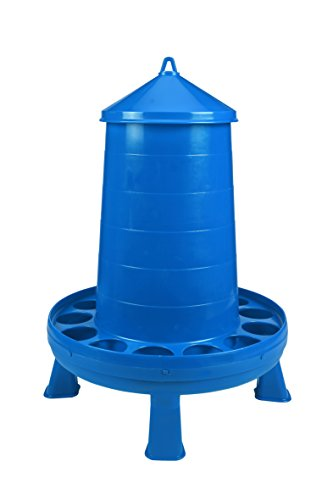Poultry Feeder with Legs (Blue) - Durable Feeding Container with Carrying Handle for Chickens & Birds (35 Lb) (Item No. DT9879)