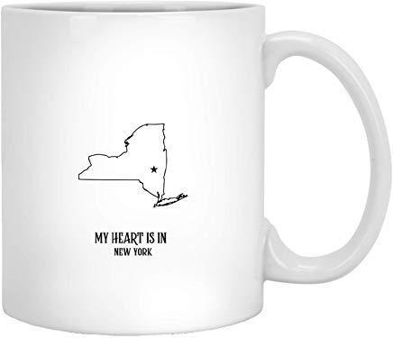 N\A My Heart is in Newyork State - Proud America Lover Regalos Divertidos Idea Tazas de café Novedad Taza de té de cerámica Blanca de 11 onzas