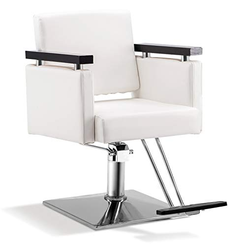 BarberPub Classic Hydraulic Barber Chair Salon Beauty Spa Styling Salon Equipment 8803 (White)
