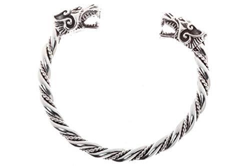Windalf Handgearbeiteter Großer Breiter Vikings Männer Armreif ARACOR Ø 6.5 cm Mit 2 Wikinger Wolfsköpfen Wikinger Freundschafts-Schmuck 925 Sterlingsilber