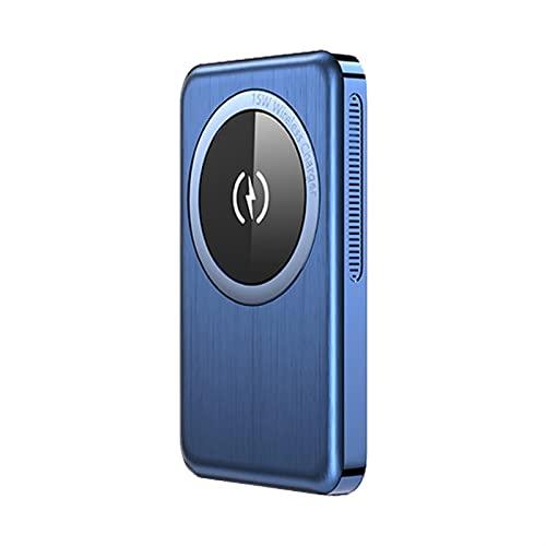 TWDYC Banco magnético de energía inalámbrico de 15 W, 10000 mAh, cargador rápido de 20 W, batería externa, compatible con iPhone 12/12 Mini/Pro/Max (5000 mAh, azul)