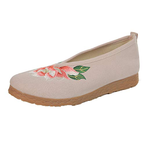 Casual Cotton Shoes for Ladies Spring Summer Breathable Moccasin Ethnic Style Outdoor Flats Soft Sole Loafers Shoes