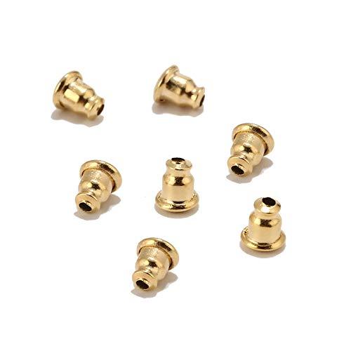 SS01 20 piezas/60 piezas/120 piezas de acero inoxidable Bullet duro pendientes taponamiento de goma bloqueado oreja trasera DIY pendientes joyería accesorios oro YC0407 (tamaño: 60 piezas)