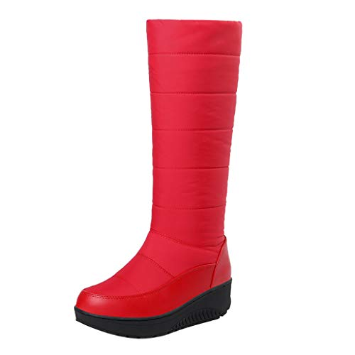 MOTOCO Damen über dem Knie Lange Schneeschuhe Winter Einfarbig Warm Halten Stiefeletten Plus Velvet Flat Boot(37 EU,Rot)