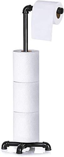 Portarrollos de papel higiénico, dispensador de papel higiénico, organizador de baño con soporte para rollo de papel higiénico, tubo de hierro fundido industrial