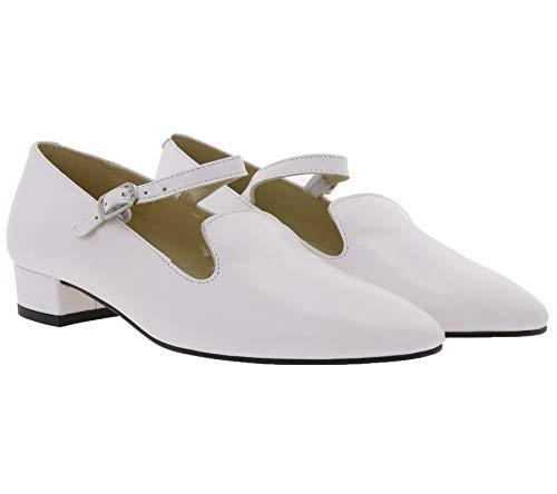 Heine Ballerina süße Damen Riemchen-Slipper aus Schaf-Nappaleder Halb-Schuhe Sommer Weiß, Größe:42