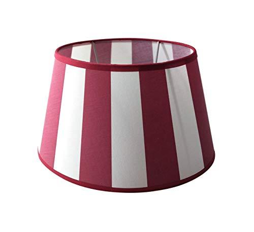 Lampenschirm-oval-rot-weiss-gestreift konische Form Ø 30m (20 * 30 * 18cm)