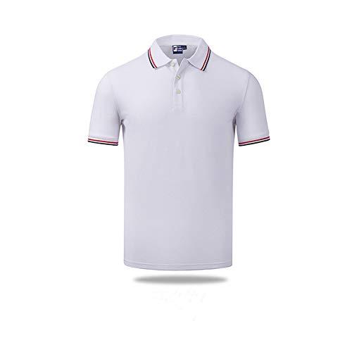 LDJ T-shirt voor zomer, katoen, reverskraag, heren, dames, poloshirt voor kinderen, hoogwaardig, casual, modieus, korte mouwen (kinderen 150, wit)