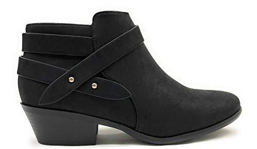 SODA SWEET Womens Criss Cross Strap Closed Toe Ankle Bootie (9, Black)