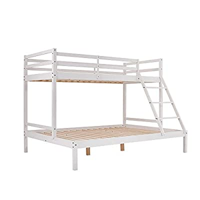 furniture-uk-shop 3 Sleeper White Natural Pine Wooden Triple Bunk Bed Double Single Size Double Bed Frame