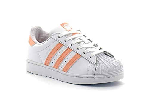 adidas Superstar C, Scarpe da Ginnastica, Ftwr White/Haze Coral/Ftwr White, 30.5 EU