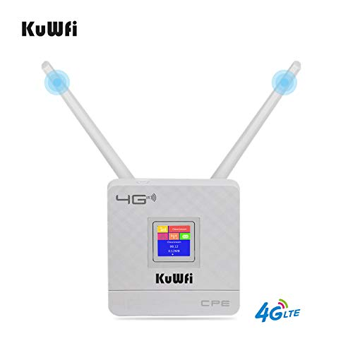 KuWFi Modem WiFi 4G, Router 4G LTE CPE Doppie antenne Esterne per casa/Ufficio Supporto Funziona con 3 (Tre) / Telecom Italia Mobile (Tim) / Vodafone/Iliad SIM Card