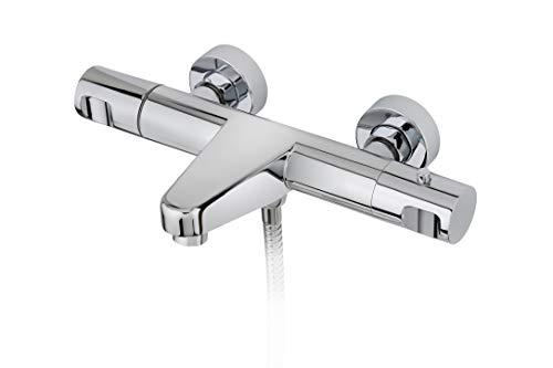 Strohm TEKA - Grifo ducha termostático de ducha y bañera MANACOR con tope de seguridad a 38º y sistema SafeTouch.