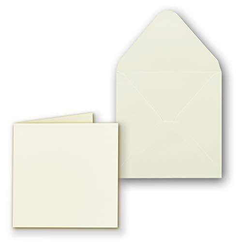 50x Quadratisches Faltkartenset inkl. Briefumschlägen 14 x 14 cm blanko in Creme - ideal zum Selbstgestalten & Kreieren