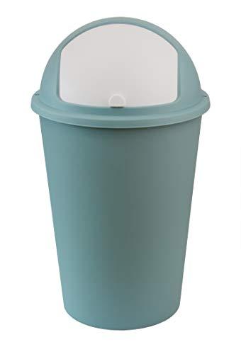 XXL Mülleimer 50L groß - Pastell-grün mit weißem Schiebedeckel - Stabiler Kunststoff - Abfalleimer Müllsammler - für Küche, Büro, Bad