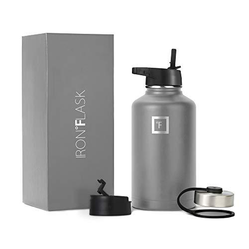 Iron Flask Sports Water Bottle - 64 Oz, 3 Lids (Straw Lid),...