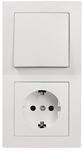 MC POWER - FLAIR - Wand Steckdosen und Schalter Set | Tür 2-fach | 3-teilig | weiß, matt