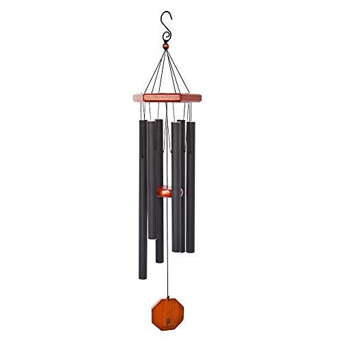 BLESSEDLAND Premium-Windspiel, für den Außenbereich, tiefer Ton, 86,4 cm, personalisierbar, mit 6 Aluminiumrohren, Elegantes Klangspiel für Garten, Terrasse, Hof und Heimdekoration (schwarz)