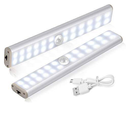 LED Schrankbeleuchtung, HebyTinco 24 LED Schrankleuchten mit Bewegungsmelder Schrankbeleuchtungen LED Kabellos Kleiderschrank, für Schrank Flur Treppenhaus Kleiderschrank Küche (2 pack)