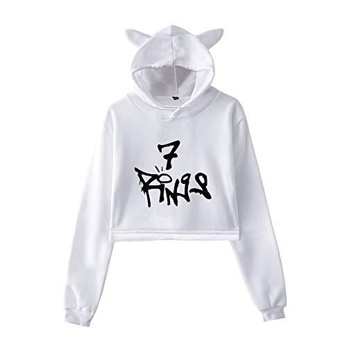 MissAc Damen Hoodie Langarm Lockeres Lässiges Baumwoll-Sweatshirt Ariana Grande Bedruckter Hoodie Mädchen Katzenohren Süßer Pullover