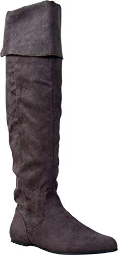 Qupid PROUD-09 Cuff Over The Knee Thigh High or Knee High Slouchy Flat Boot, Charcoal Suede, 6.5
