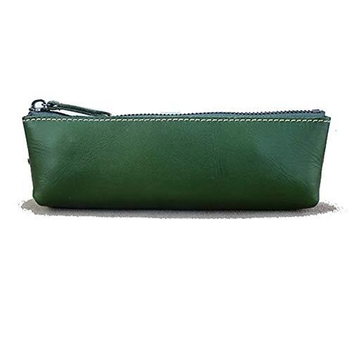 Funda de lápiz Bolsa de Bolsa de lápiz de Cuero Genuino Cajas para niñas y Adultos Bolígrafo de Pluma Bolsa de Maquillaje para Bolso de Cremallera de Bolso (Color : Green, Size : 19.5x6x3.5cm)