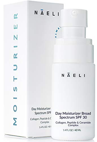 Face Moisturizer with SPF 30 - Anti Aging Collagen & Peptide Cream - Reduces Wrinkles & Plumps Skin - Lightweight Hydration with Hyaluronic Acid - Paraben Free & Non-Comedogenic, 1.4 oz
