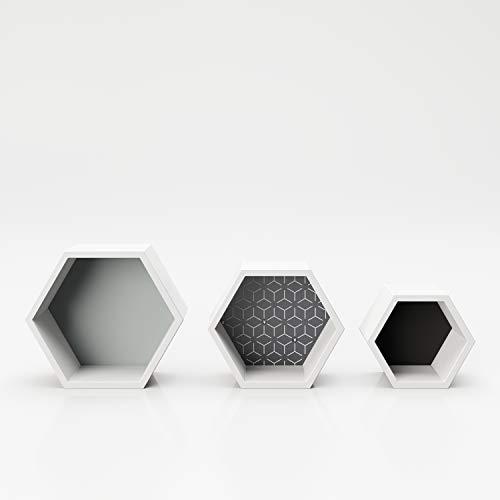 PLAYBOY Wandrek set van 3, 6-hoekige vorm, wit met gekleurde achterwand, kubus, decoratief rek, hexagonaal, zwevende plank, wandplank, hangplank, verzamelaarsrek
