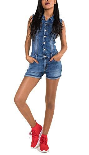 EGOMAXX Damen Jeans Anzug Kurz Overall Jumpsuit Hosenanzug Einteiler, Farben:Blau, Größe:M