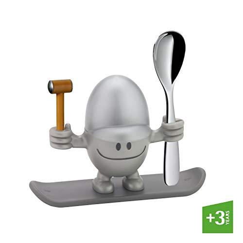 WMF McEgg Coquetier avec cuillère en plastique Cromargan poli Passe au lave-vaisselle Argenté