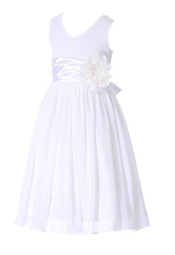 HAPPY ROSE Juniorbrautjungfernkleid Abschlussball-Partykleid Chiffon Weiß 12_Jahre