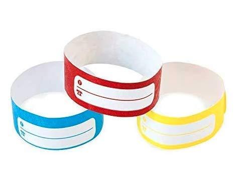 5 Pulseras identificativas de Papel tyvek con Pista de Escritura para niños y Ancianos. Cierre Adhesivo Resistente, intransferible y Resistente al Agua. (Azul)