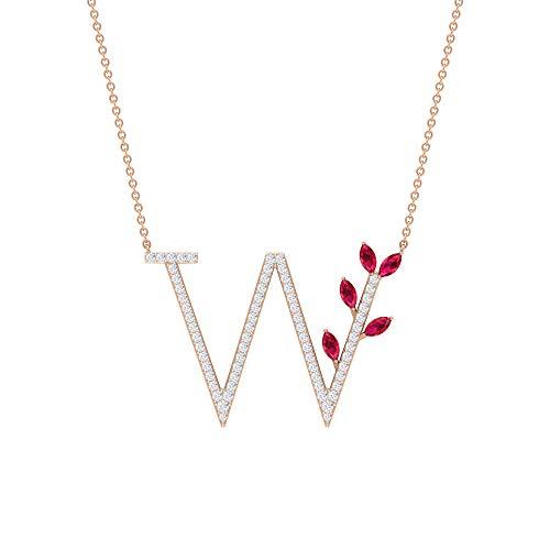 Colgante con nombre inicial antiguo, letra W, colgante de alfabeto, colgante de rubí creado en laboratorio de 0,65 ct, colgante de diamante HI-SI de 0,54 ct, colgante floral de boda 18K Oro rosa