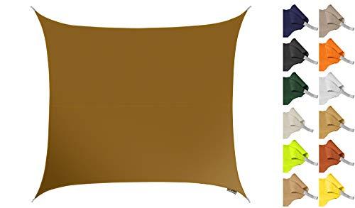 Kookaburra 2m Square Water Resistant Garden Patio Sun Shade Sail Canopy 96.5% UV Block with Free Rope (Mocha Brown)