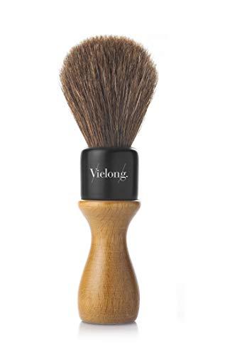 Vielong Brosse à raser manuelle avec manche en bois de hêtre Marron Modèle professionnel américain diamètre 21 mm (B0410921)