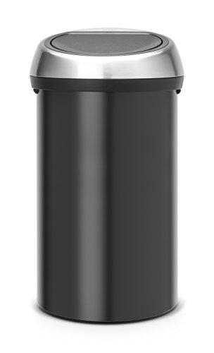 Brabantia 402548 Poubelle Touch Bin, 60 L - Noir mat avec couvercle en acier brillant