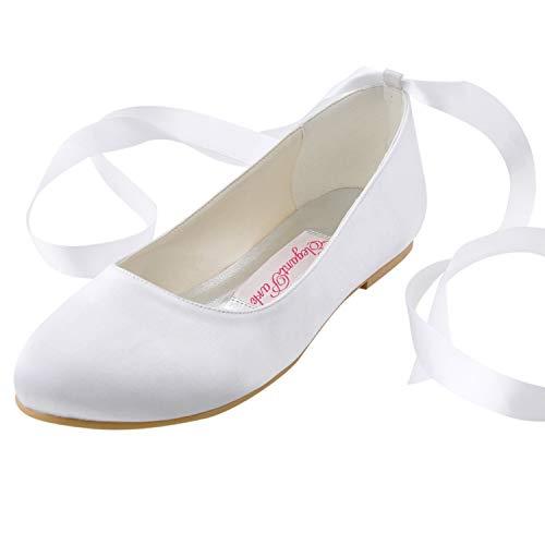 ElegantPark EP11105 Mujer Punta Chiusa Cintas Pisos Satén Zapatos de Boda