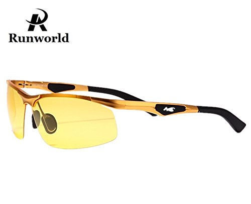 Runworld Mens HD Night View Night Vision Anti-Glare Non-Polarized & Polarized Avaitor Rimless Wraparound Wrap Around Driver's Yellow Driving Glasses Sunglasses Goggles (Golden3009)