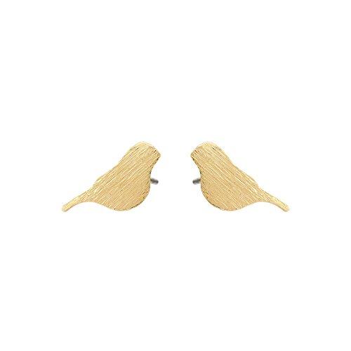 Selia Origami Vogel mini Ohrring Bird Ohrstecker minimalistisch gebürstete Optik handgemacht (Gold)