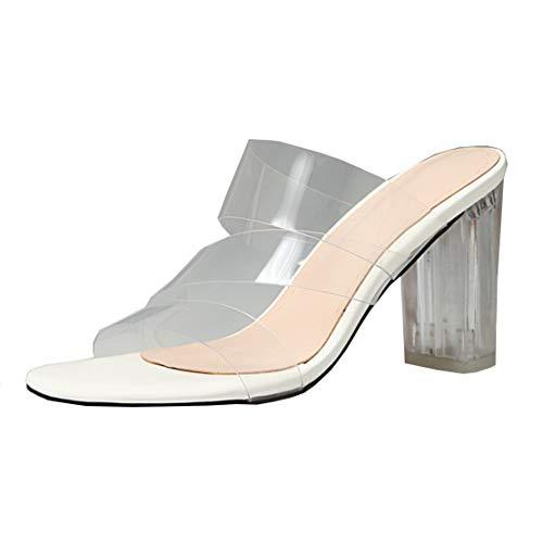 MISSUIT Damen Mules High Heels Sandalen Transparent Blockabsatz Pantoletten mit Durchsichtig Absatz Schuhe(Weiß,34)