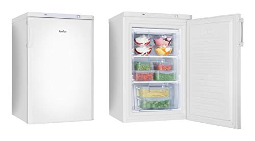 Amica Gefrierschrank GS 321 100W| Standgerät | 80 Liter Nutzinhalt | Weiß | 1 Schublade & 2 Fächer mit Klappe | Eiswürfelbehälter