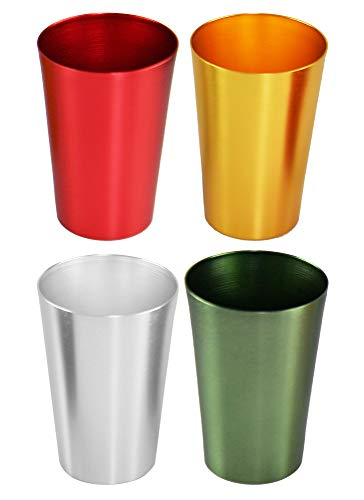HOME-X Colorful Aluminum Drinking Cups Set of 4, Colored Metal Tumblers, Shatter Resistant, Stackable, 4 Metallic Colors- 12 Ounces