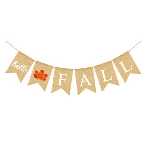 Amosfun Hello Fall Hallo Fall Banner Esdoorn Blad Herfst Oogst Jute Bunting Vlag Swallowtail slinger voor Halloween Thanksgiving Day Mantel Open haard decoratie (wit) 18x13 x 0.1 cm Kleur: wit